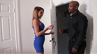 Nasty blonde is getting busted by a huge black cock