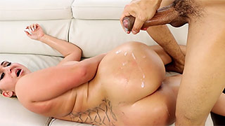 Fat-ass big blonde babe gets viciously screwed