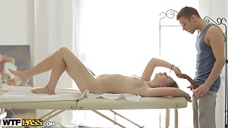 Intense fucking with a hot slut on a massage table