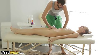 Leggy blonde fucking her hung masseur on a table