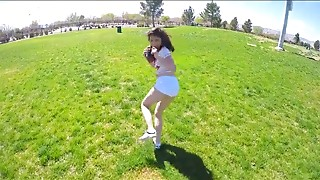 Football and furious fucking for a brunette teen minx