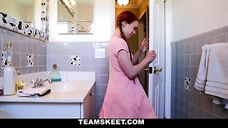 Redheaded teen gets stuck on a toilet and screwed